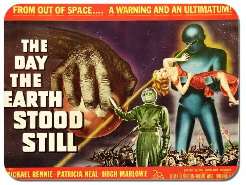 Day The Earth Stood Still Mouse Mat Vintage Movie Poster Classic Sci Fi Mousepad